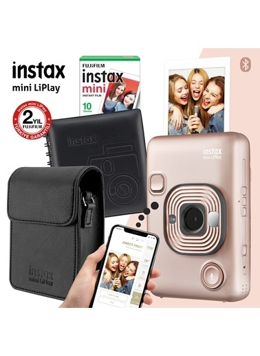 Fujifilm Instax mini LiPlay Hybrid Blush Gold Fotoğraf Makinesi Hediye Seti 2 Altın